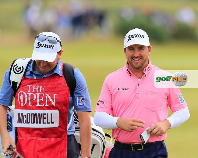 Graeme McDOWELL (NIR) and caddy Ken Comboy walk to the 15th tee during Monday's Final Round of the 144th Open Championship, St Andrews Old Course, St Andrews, Fife, Scotland. 20/07/2015.<br /> Picture Eoin Clarke, www.golffile.ie