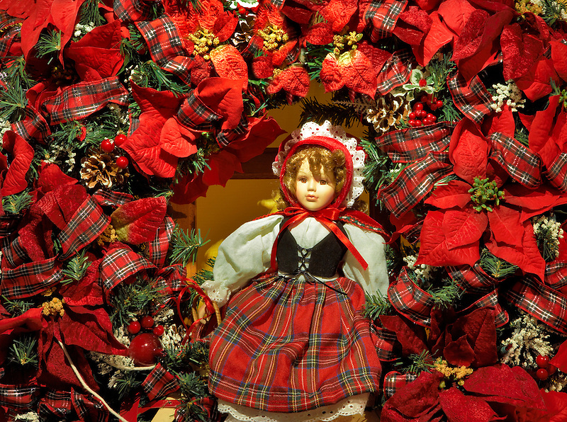Christmas wreath with doll. Providence Festival of Trees. Portland. Oregon