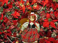 Christmas wreath with doll. Providence Festival of Trees. Portland. Oregon