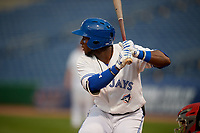 Dunedin Blue Jays center fielder Chavez Young (2) at bat during a Florida State League game against the Clearwater Threshers on April 4, 2019 at Spectrum Field in Clearwater, Florida.  Dunedin defeated Clearwater 11-1.  (Mike Janes/Four Seam Images)
