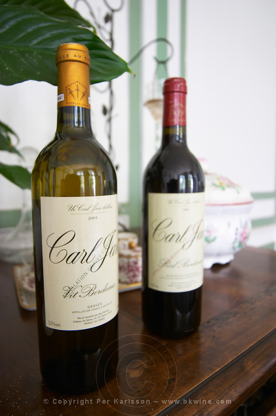 Two bottles of white and red Bordeaux wine labelled Carl Jan Vit and Carl Jan Rod made by the Perromats for the Swedish market Chateau de Cerons (Cérons) Sauternes Gironde Aquitaine France
