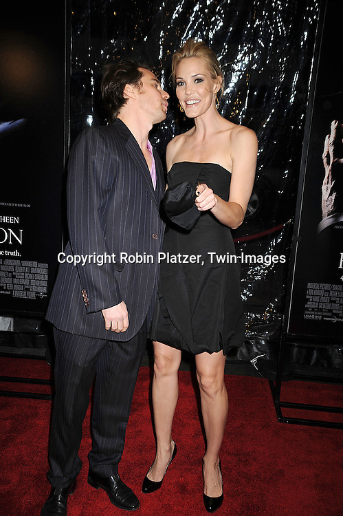 """Sam Rockwell and girlfriend Leslie Bibb..posing for photographers at The New York Premiere of..""""FROST/NIXON"""" on November 17, 2008 at The Ziegfeld Theatre. ....Robin Platzer, Twin Images"""
