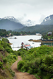 ALASKA, Homer, an overall view of Halibut Cove in the evening time