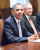 United States President Barack Obama during a photo-op with bipartisan Congressional Leadership in the Cabinet Room of the White House in Washington, D.C. prior to a meeting to discuss the ongoing efforts to find a balanced approach to deficit reduction. .Credit: Ron Sachs / Pool via CNP