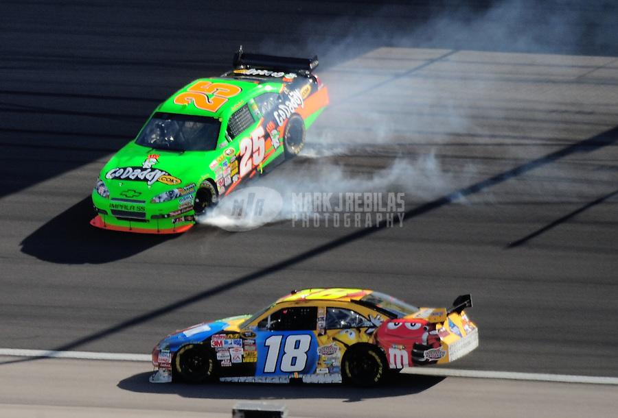 Mar. 1, 2009; Las Vegas, NV, USA; NASCAR Sprint Cup Series driver Brad Keselowski (25) spins as Kyle Busch goes low to avoid during the Shelby 427 at Las Vegas Motor Speedway. Mandatory Credit: Mark J. Rebilas-