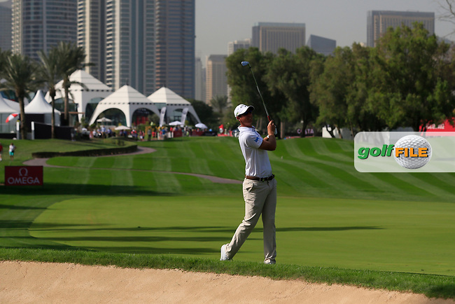 Nicolas Colsaerts (ENG) on the 1st during Round 4 of the Omega Dubai Desert Classic, Emirates Golf Club, Dubai,  United Arab Emirates. 27/01/2019<br /> Picture: Golffile | Thos Caffrey<br /> <br /> <br /> All photo usage must carry mandatory copyright credit (&copy; Golffile | Thos Caffrey)