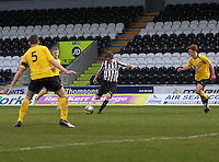 Kieran Doran shooting in the St Mirren v Falkirk Clydesdale Bank Scottish Premier League Under 20 match played at St Mirren Park, Paisley on 30.4.13.