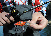 NWA Democrat-Gazette/FLIP PUTTHOFF <br /> Bohannan used a Skirmish A-10 crank bait to catch bass Jan. 27 2017 at Table Rock Lake. He prefers red or green depending on water clarity.