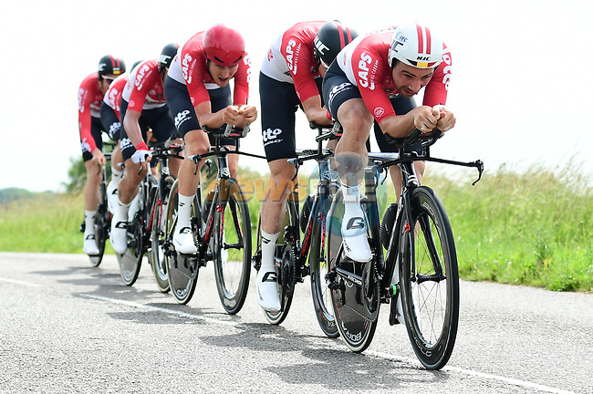 Lotto-Soudal in full flight during Stage 3 of the 2018 Criterium du Dauphine 2018 a Team Time Trial running 35km from Pont de Vaux to Louhans Chateaurenaud, France. 6th June 2018.<br /> Picture: ASO/Alex Broadway | Cyclefile<br /> <br /> <br /> All photos usage must carry mandatory copyright credit (© Cyclefile | ASO/Alex Broadway)