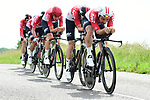 Lotto-Soudal in full flight during Stage 3 of the 2018 Criterium du Dauphine 2018 a Team Time Trial running 35km from Pont de Vaux to Louhans Chateaurenaud, France. 6th June 2018.<br /> Picture: ASO/Alex Broadway | Cyclefile<br /> <br /> <br /> All photos usage must carry mandatory copyright credit (&copy; Cyclefile | ASO/Alex Broadway)