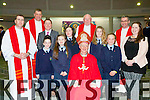 Pupils from Tiernaboul NS with Bishop Ray Browne, and Principal Conor Gleeson after they made their Confirmation in the Church of the Ressurection on Friday