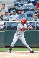 Darius Day (1) of the Spokane Indians bats during a game against the Everett AquaSox at Everett Memorial Stadium on July 24, 2015 in Everett, Washington. Everett defeated Spokane, 8-6. (Larry Goren/Four Seam Images)