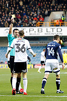 David Brooks of Sheffield United is booked by referee, Andrew Madley for simulation during the Sky Bet Championship match between Millwall and Sheff United at The Den, London, England on 2 December 2017. Photo by Carlton Myrie / PRiME Media Images.