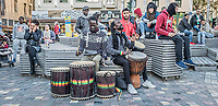 Pictured: Street musicians at Monastiraki Square.<br /> Re: Street photography, Athens, Greece. Thursday 27 February 2020