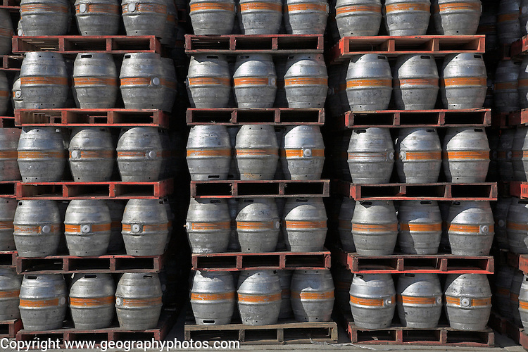 Pallets loaded with beer barrels at Adnams brewery distribution centre, Reydon, Suffolk, England, UK