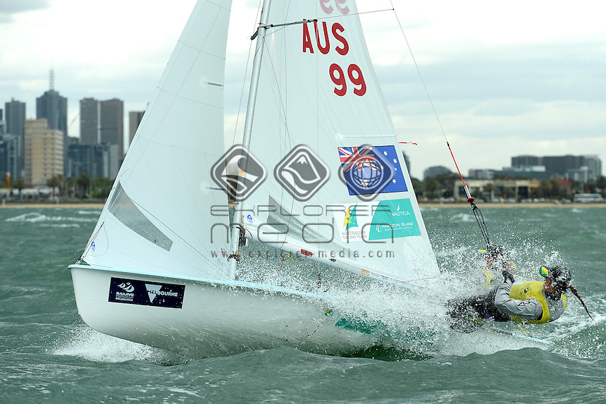 470 / Carrie Smith &amp; Jamie Ryan (AUS)<br /> ISAF Sailing World Cup - Melbourne<br /> St Kilda sailing precinct, Victoria<br /> Port Phillip Bay Friday 11 Dec 2015<br /> &copy; Sport the library / Jeff Crow
