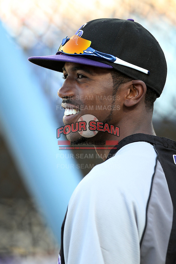 Colorado Rockies outfielder Dexter Fowler #24 before a game against the Los Angeles Dodgers at Dodger Stadium on July 26, 2011 in Los Angeles,California. Los Angeles defeated Colorado 3-2.(Larry Goren/Four Seam Images)