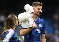 Chelsea's Jorginho walks around the pitch with members of his family after the final whistle during Chelsea vs Watford, Premier League Football at Stamford Bridge on 5th May 2019