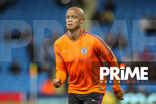 Vincent KOMPANY of Manchester City warms up during the UEFA Champions League match between Manchester City and Olympique Lyonnais at the Etihad Stadium, Manchester, England on 19 September 2018. Photo by David Horn / PRiME Media Images.