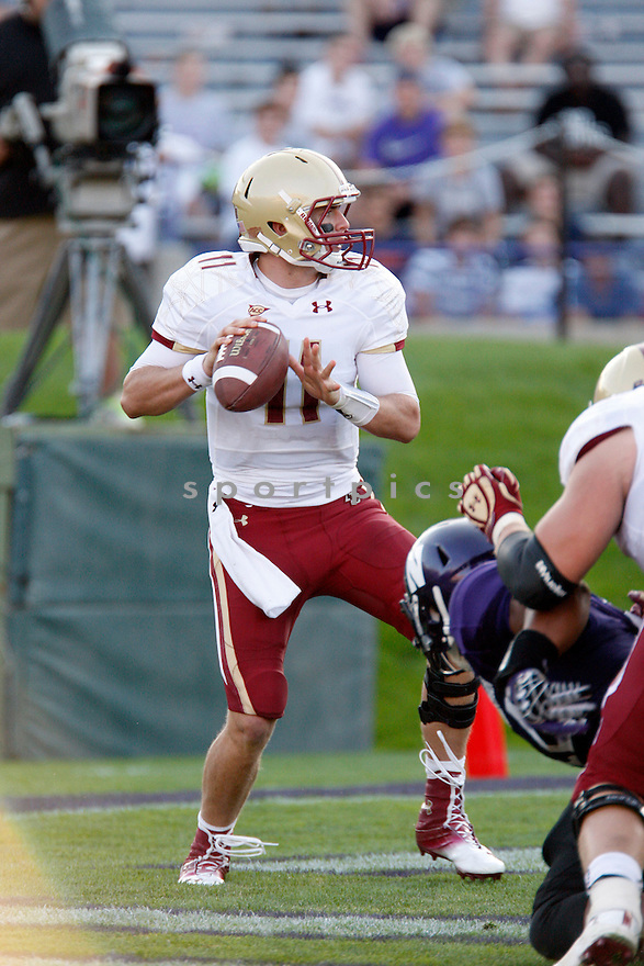 Boston College Eagles Chase Rettig (11) during a game against the Northwestern Wildcats on September 15, 2012 at Ryan Field in Evanston, IL. Northwestern beat Boston College 22-13