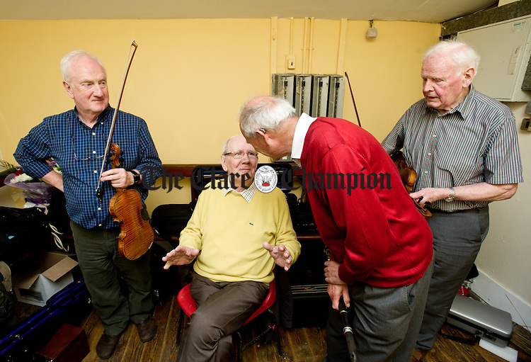 John Kelly, Mick Hand, Michael Tubridy and John Dwyer in the green room before performing in a concert as part of the Willie Clancy Summer school in Miltown Malbay. Photograph by John Kelly.