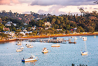 Russell and Russell Pier at sunset, Bay of Islands, Northland Region, North Island, New Zealand