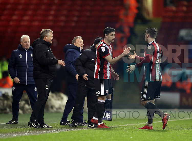 Ryan Leonard of Sheffield Utd replaces Lee Evans of Sheffield Utd during the Championship match at Bramall Lane Stadium, Sheffield. Picture date 02nd April, 2018. Picture credit should read: Simon Bellis/Sportimage