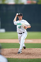 Clinton LumberKings relief pitcher Michael Koval (41) delivers a pitch during a game against the Lansing Lugnuts on May 9, 2017 at Ashford University Field in Clinton, Iowa.  Lansing defeated Clinton 11-6.  (Mike Janes/Four Seam Images)