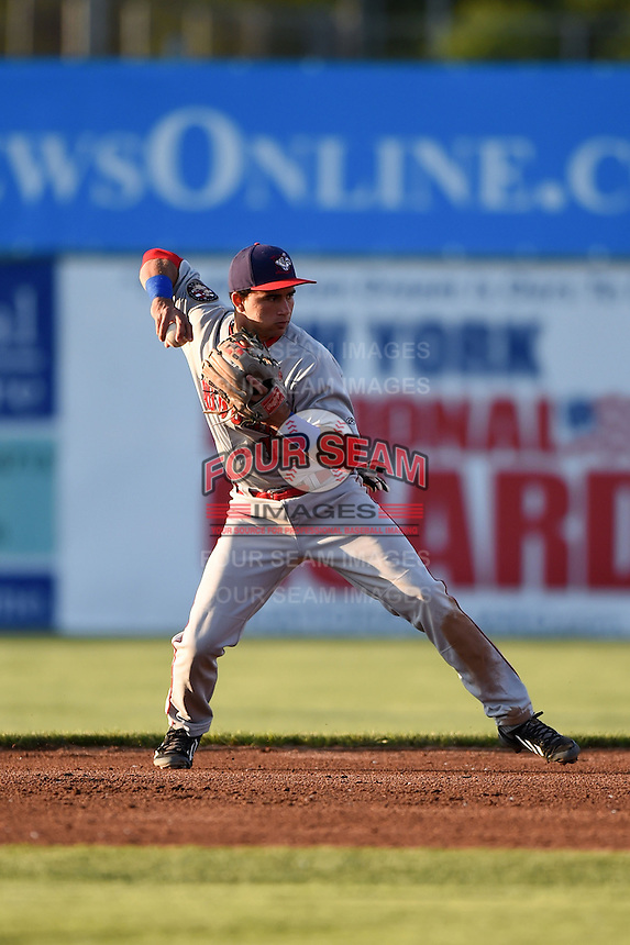 Auburn Doubledays second baseman Bryan Mejia (1) throws to first during a game against the Batavia Muckdogs on June 14, 2014 at Dwyer Stadium in Batavia, New York.  Batavia defeated Auburn 7-2.  (Mike Janes/Four Seam Images)