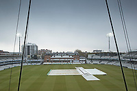 The covers on. A disappointing view from the JP Morgan Media Centre during Middlesex CCC vs Lancashire CCC, Specsavers County Championship Division 2 Cricket at Lord's Cricket Ground on 13th April 2019