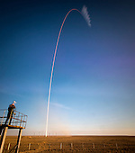 The Soyuz TMA-11M rocket is seen, in this 2 minute exposure, as it is launched with Expedition 38 Soyuz Commander Mikhail Tyurin of Roscosmos, Flight Engineer Rick Mastracchio of NASA and Flight Engineer Koichi Wakata of the Japan Aerospace Exploration Agency onboard, Thursday, Nov. 7, 2013, at the Baikonur Cosmodrome in Kazakhstan. Tyurin, Mastracchio, and, Wakata will spend the next six months aboard the International Space Station.  <br /> Mandatory Credit: Bill Ingalls / NASA via CNP