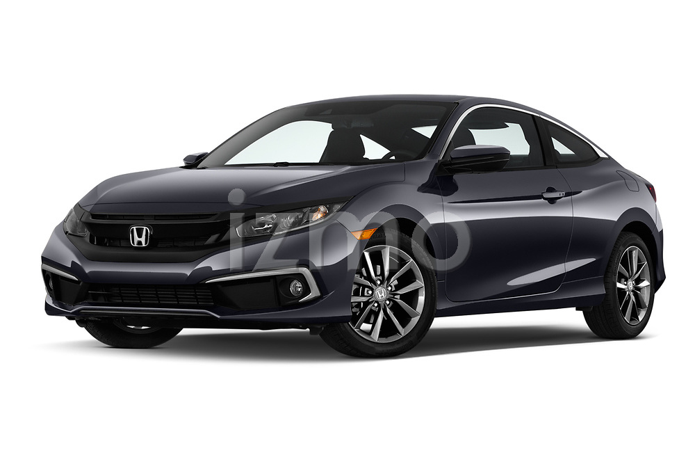 Stock pictures of low aggressive front three quarter view of 2019 Honda Civic-Coupe EX 2 Door Coupe Low Aggressive