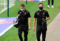 Lincoln City's Theo Archibald, left, and Tom Hopper arrive at the ground<br /> <br /> Photographer Chris Vaughan/CameraSport<br /> <br /> The EFL Sky Bet League One - Milton Keynes Dons v Lincoln City - Saturday 19th September 2020 - Stadium MK - Milton Keynes<br /> <br /> World Copyright © 2020 CameraSport. All rights reserved. 43 Linden Ave. Countesthorpe. Leicester. England. LE8 5PG - Tel: +44 (0) 116 277 4147 - admin@camerasport.com - www.camerasport.com
