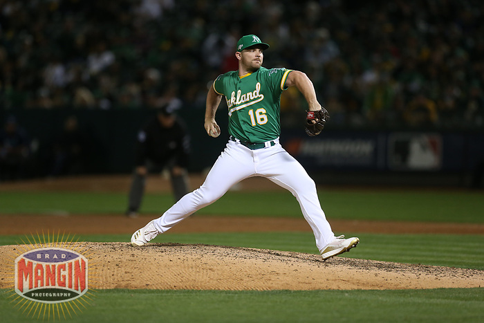 OAKLAND, CA - OCTOBER 02:  Liam Hendriks #16 of the Oakland Athletics pitches against the Tampa Bay Rays during the American League Wild Card Game at RingCentral Coliseum on Wednesday, October 2, 2019 in Oakland, California. (Photo by Brad Mangin)