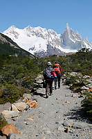 Argentina, Patagonia, El Chalten: Hikers on trail to Laguna Torre with view of Cerro Torre | Argentinien, Patagonien, El Chalten: Wanderer und Cerro Torre