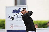 Jeff Winther (DEN) tees off the 1st tee during Saturday's rain delayed Round 2 of the Andalucia Valderrama Masters 2018 hosted by the Sergio Foundation, held at Real Golf de Valderrama, Sotogrande, San Roque, Spain. 20th October 2018.<br /> Picture: Eoin Clarke | Golffile<br /> <br /> <br /> All photos usage must carry mandatory copyright credit (&copy; Golffile | Eoin Clarke)