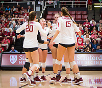 Stanford, CA - October 11, 2019: Meghan McClure, Caitlin Keefe, Kate Formico, Morgan Hentz, Madeleine Gates at Maples Pavilion. The Stanford Cardinal swept the Arizona Wildcats 3-0.