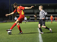 Grant Munro clears before Jack Smith tackles in the St Mirren v Dunfermline Athletic Clydesdale Bank Scottish Premier League U20 match played at St Mirren Park, Paisley on 2.10.12.
