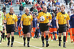 04 April 2015: Match officials (from left): Assistant Referee Mark Buda, Fourth Official Douglas Hartemann, Referee Robert Sibiga, and Assistant Referee Jude Carr. The Carolina RailHawks hosted the Ottawa Fury FC at WakeMed Stadium in Cary, North Carolina in a North American Soccer League 2015 Spring Season match. Carolina won the game 3-1.