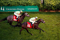 LOUISVILLE, KY - MAY 05: La Coronel #1A, ridden by Florent Geroux, wins the Edgewood Stakes ahead of Dream Dancing #1, ridden by Julien Leparoux, on Kentucky Oaks Day at Churchill Downs on May 5, 2017 in Louisville, Kentucky. (Photo by Jon Durr/Eclipse Sportswire/Getty Images)
