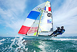 ISAF Sailing World Cup Hyères - Fédération Française de Voile. 49er, Julien D'Ortoli<br /> Noé Delpech.