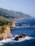 Mountains meet the sea on Scenic Highway 1 Big Sur Coast, Central Coast of California.A National Scenic Byway