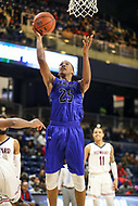 Washington, DC - December 22, 2018: Hampton Pirates guard Akim Mitchell (25) makes a layup during the DC Hoops Fest between Hampton and Howard at  Entertainment and Sports Arena in Washington, DC.   (Photo by Elliott Brown/Media Images International)