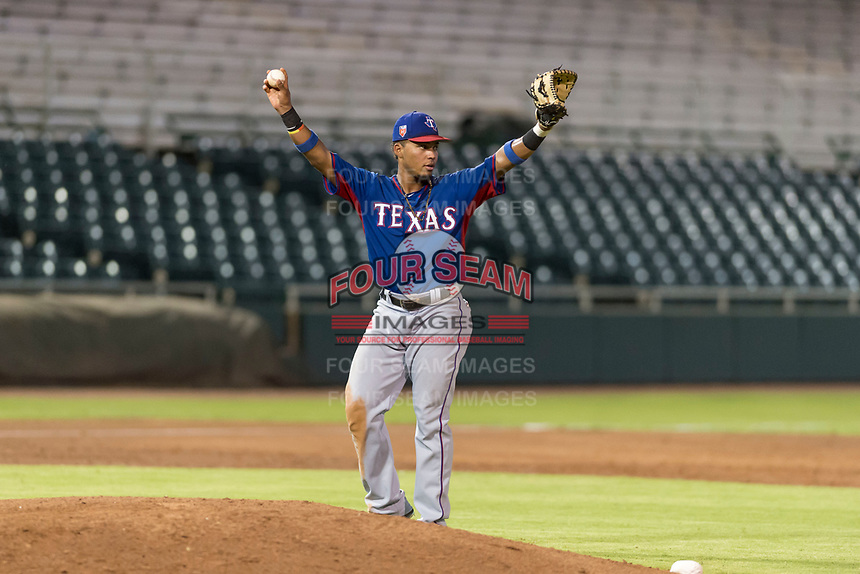AZL Rangers first baseman Fernando Valdez (46) calls for time during an Arizona League game against the AZL Giants Black at Scottsdale Stadium on August 4, 2018 in Scottsdale, Arizona. The AZL Giants Black defeated the AZL Rangers by a score of 6-3 in the second game of a doubleheader. (Zachary Lucy/Four Seam Images)