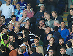 Arguments start amongst the Everton fans  during the Barclays Premier League match at the King Power Stadium.  Photo credit should read: David Klein/Sportimage
