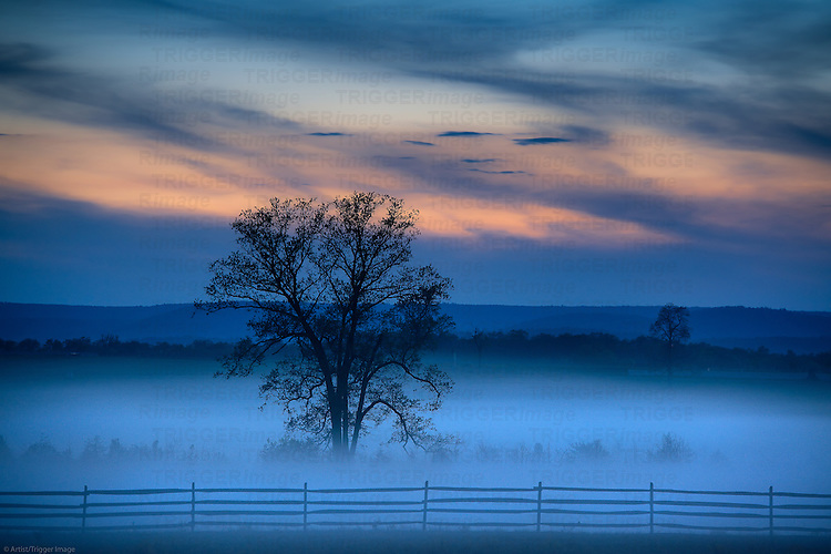 Moody morning landscape, Gettysburg battle field,, Adams County, Pennsylvania, USA