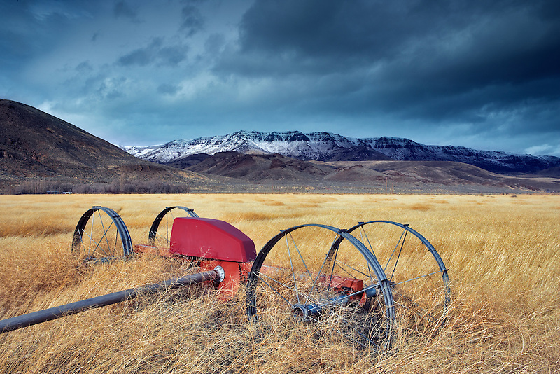 Irrigation wheel and pasture with Steens Mountain with snow in winter.Oregon