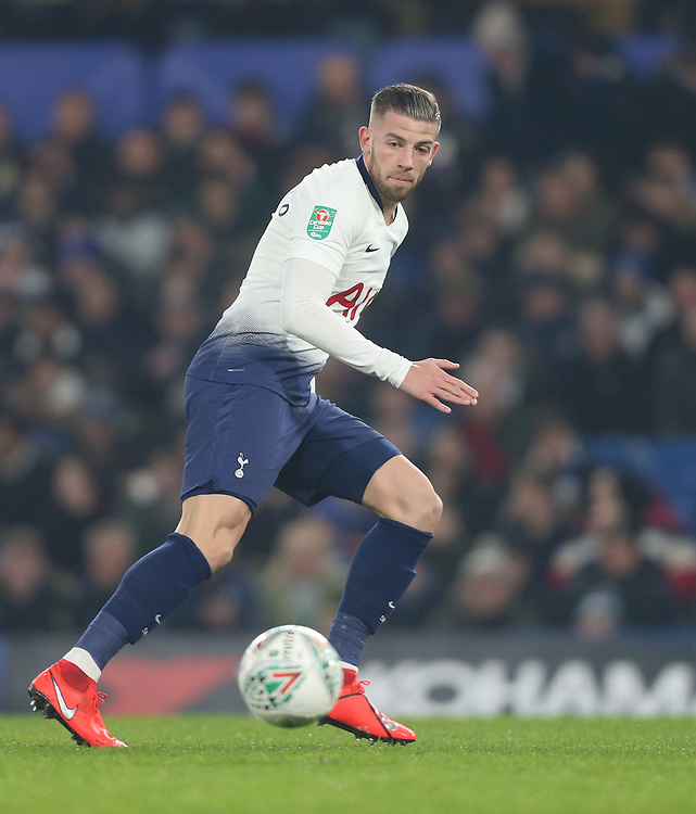 Tottenham Hotspur's Toby Alderweireld<br /> <br /> Photographer Rob Newell/CameraSport<br /> <br /> The Carabao Cup Semi-Final Second Leg - Chelsea v Tottenham Hotspur - Thursday 24th January 2019 - Stamford Bridge - London<br />  <br /> World Copyright © 2018 CameraSport. All rights reserved. 43 Linden Ave. Countesthorpe. Leicester. England. LE8 5PG - Tel: +44 (0) 116 277 4147 - admin@camerasport.com - www.camerasport.com