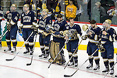 Mike Voran (Notre Dame - 16), Sean Lorenz (Notre Dame - 24), Calle Ridderwall (Notre Dame - 22), Steven Summerhays (Notre Dame - 1), Sam Calabrese (Notre Dame - 8), Jeff Costello (Notre Dame - 11), Anders Lee (Notre Dame - 9) - The University of Minnesota-Duluth defeated the University of Notre Dame Fighting Irish 4-3 in their 2011 Frozen Four Semi-Final on Thursday, April 7, 2011, at the Xcel Energy Center in St. Paul, Minnesota.