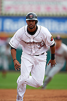 Rochester Red Wings outfielder Aaron Hicks (32), on rehab assignment from the Minnesota Twins, running the bases during a game against the Pawtucket Red Sox on July 1, 2015 at Frontier Field in Rochester, New York.  Rochester defeated Pawtucket 8-4.  (Mike Janes/Four Seam Images)